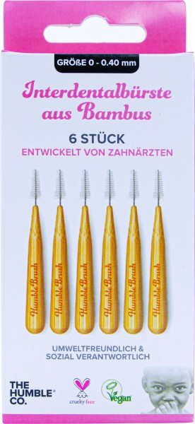 Humble Interdental Bürste aus Bambus 0,40 mm pink