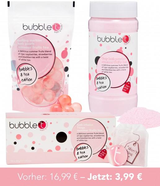 bubble t Bundle 1 - schmelzende Ölperlen, Badepulver, Teebeutel mit Badesalz