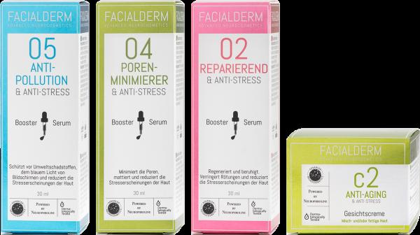 FacialDerm Set 6: Serum Booster 05 + Booster 04 + Booster 02 + Gesichtscreme c2 Anti-Aging