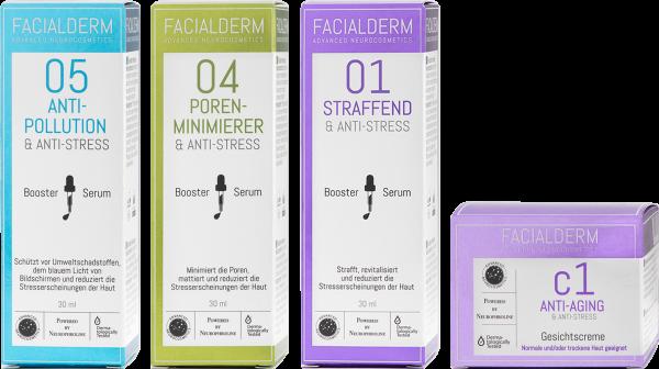 FacialDerm Set 3: Serum Booster 01 + Booster 04 + Booster 05 + Gesichtscreme c1 Anti-Aging