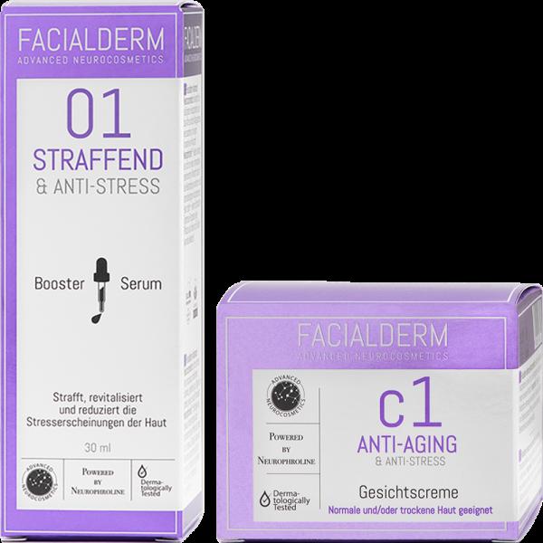 FacialDerm Set 1: Serum Booster 01 Straffend & Anti-Stress + Gesichtscreme c1 Anti-Aging