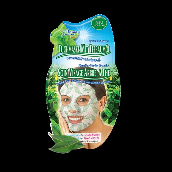 Tuchmaske - Teebaumöl & grüne Minze