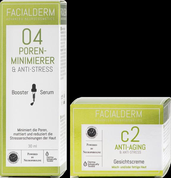 FacialDerm Set 4: Serum Booster 04 Poren Minimierer & Anti-Stress + Gesichtscreme c2 Anti-Aging
