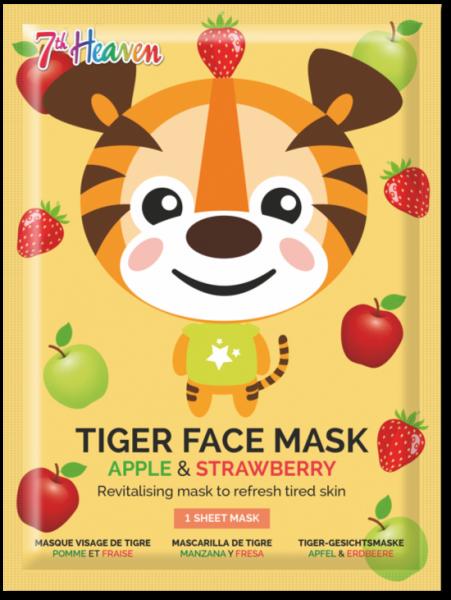 Tiger Tuchmaske mit Apfel, Erdbeere und Zaubernuss