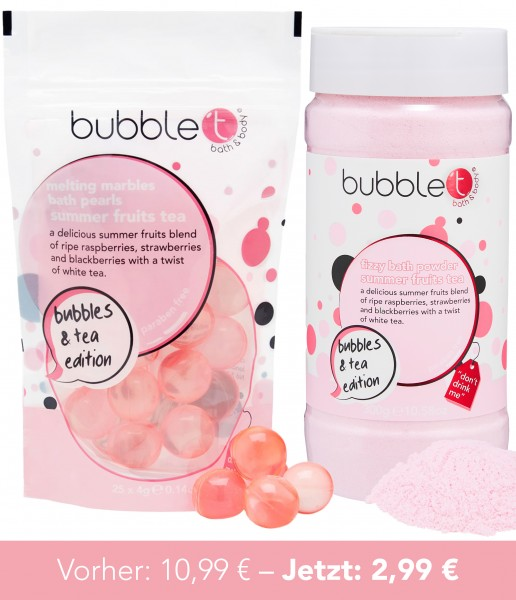 bubble t Bundle 4 - schmelzende Ölperlen, Badepulver