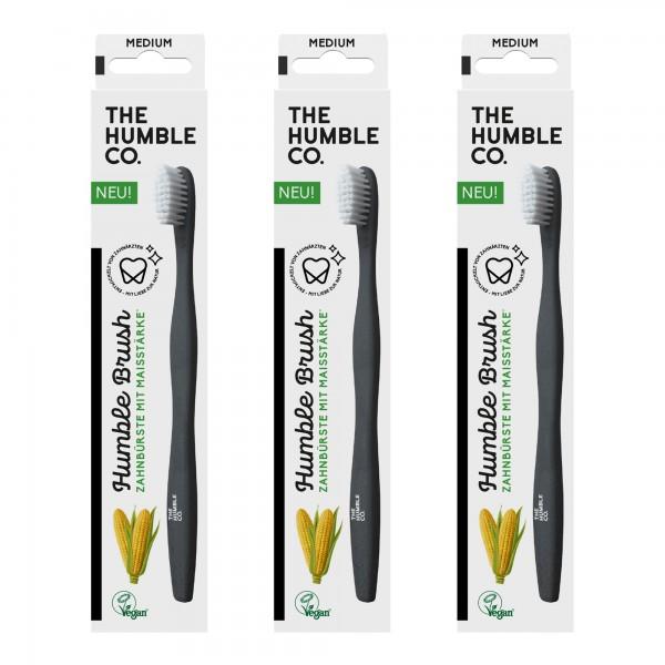 3 x Humble Brush Zahnbürste mit Maisstärke, schwarz mit weissen Borsten, mittlere Stärke, Vegan