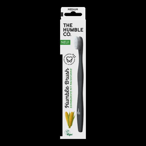 Humble Brush Zahnbürste mit Maisstärke, schwarz mit weissen Borsten, Medium, mittlere Stärke, Vegan